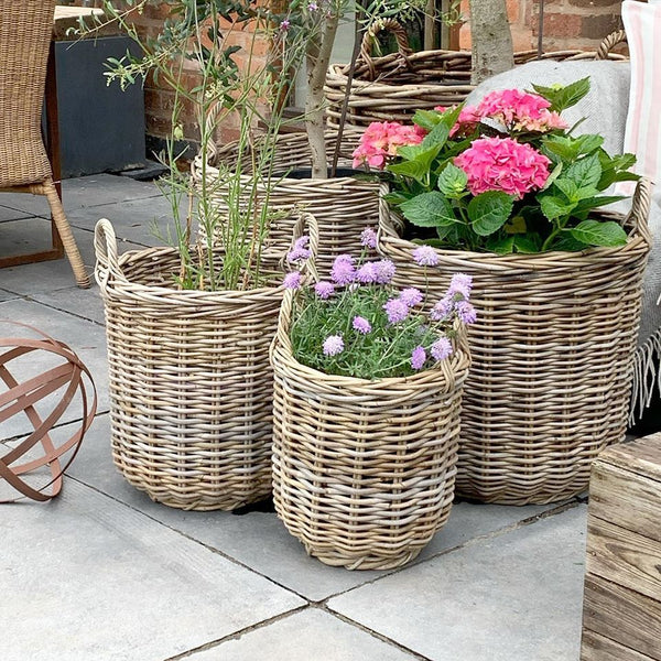 Grey Deep Round Wicker Baskets
