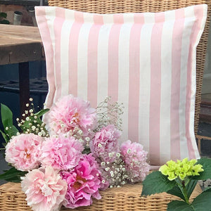 Pale Pink Thick Stripe Oxford cushion