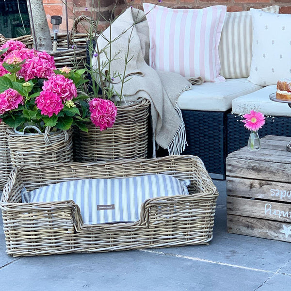 Wicker Dog Bed with Patterned Cushion