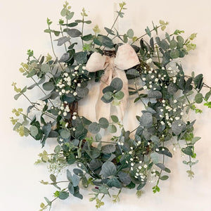 Frosted Eucalyptus Wreath, With Peony and Sage Fabric Bow.