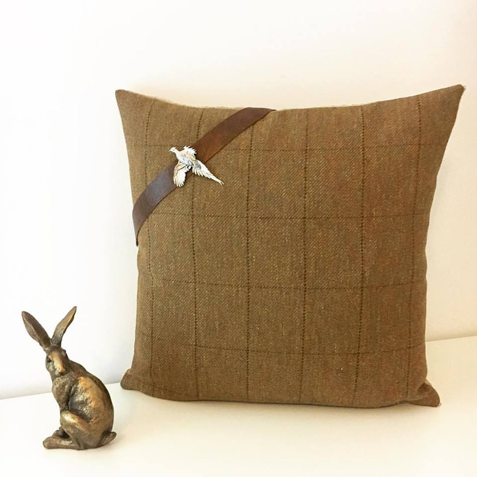 Tweed cushion with detailing