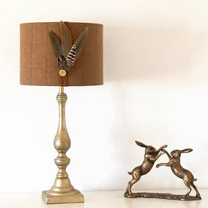 Tweed feather lampshade