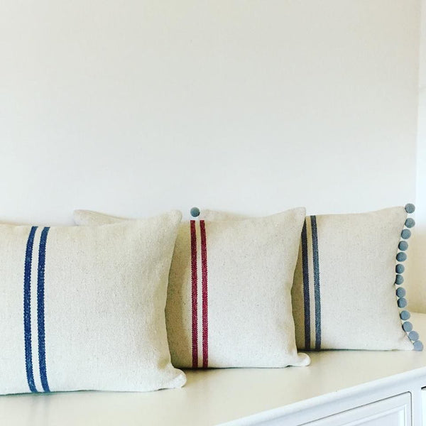 French Grainsack Stripe Cushions