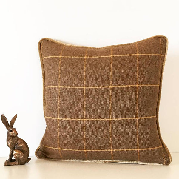 Luxury Check Tweed Piped Cushion
