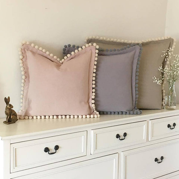 Luxury Oxford Cushions With Pompoms