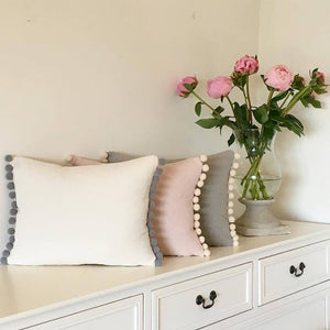 Oblong Pompoms Cushions