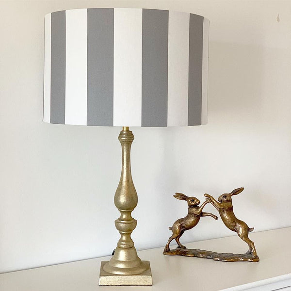Grey and White Stripe Lampshade