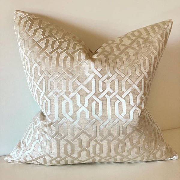 Taupe Geometric fabric cushion