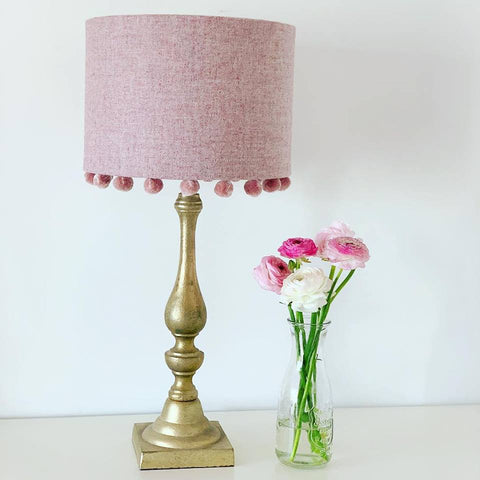 Pink Tweed Lampshade With Velvet Pompoms