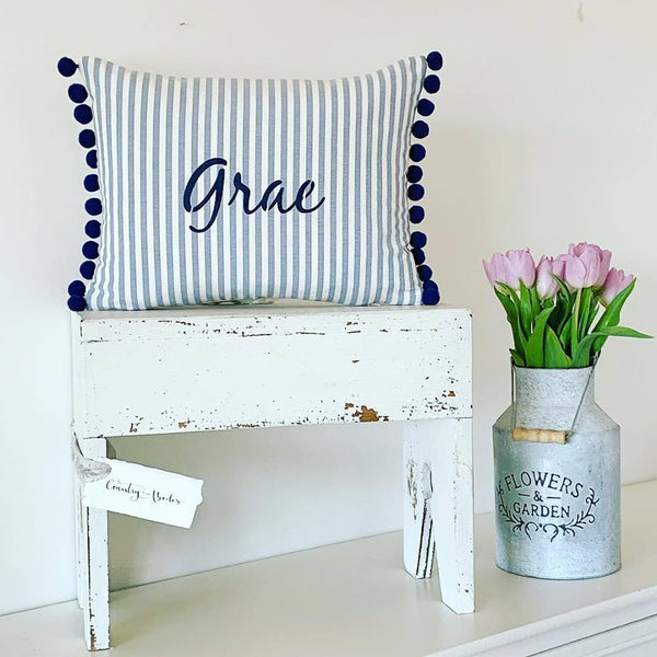 Personalised Oblong Candy Stripe Cushions With Pompoms