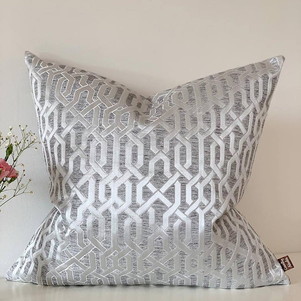 Silver Geometric fabric cushion