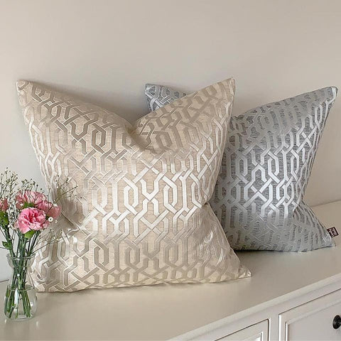 Taupe and Silver Geometric fabric cushion