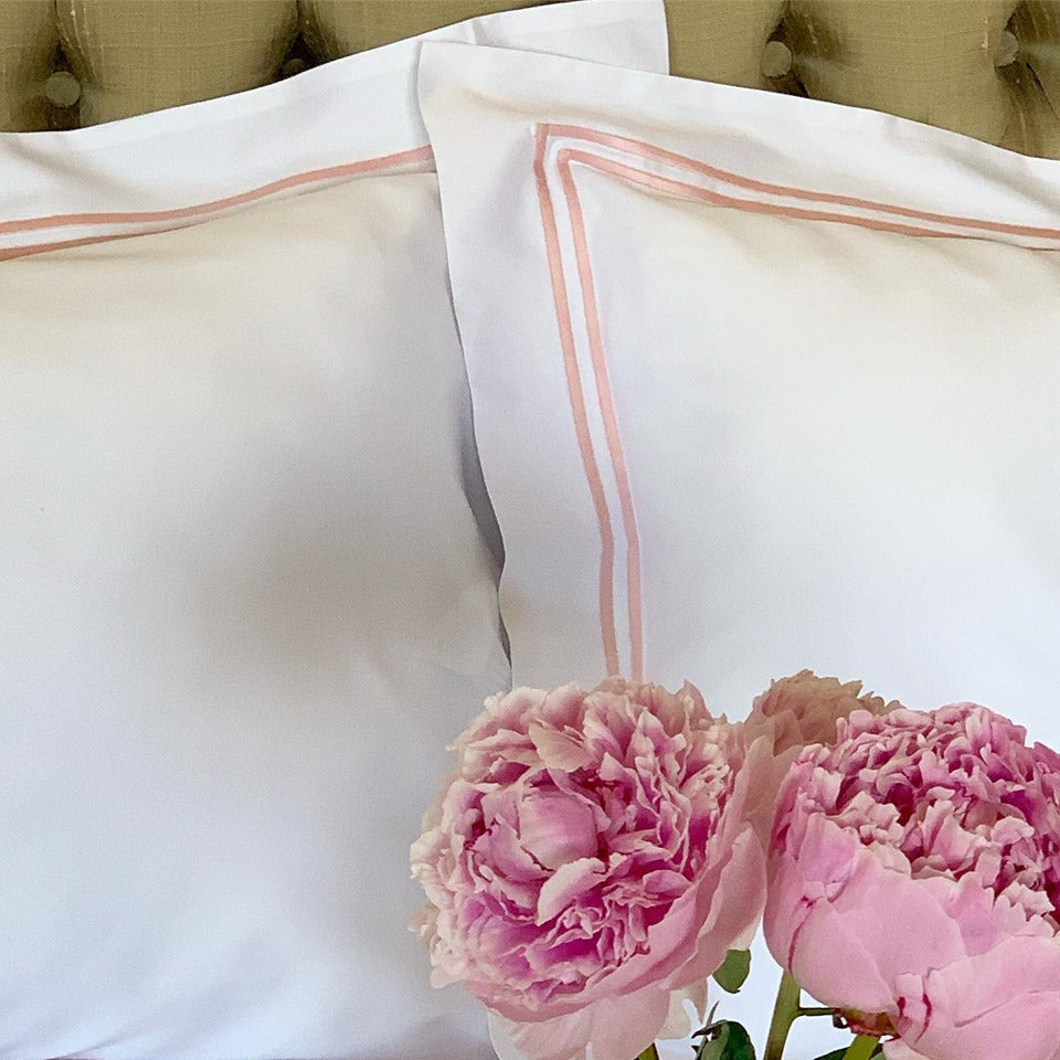 A Pair of Egyptian Cotton Double Row Oxford Pillowcases