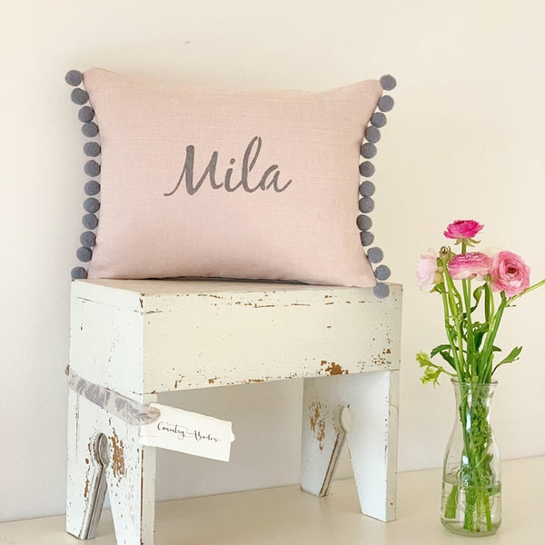Personalised Oblong Cushions With Pompoms