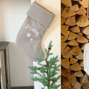 Country Hound Grey Personalised Christmas Stocking