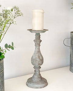 Metal Antiqued Grey Candle Holder