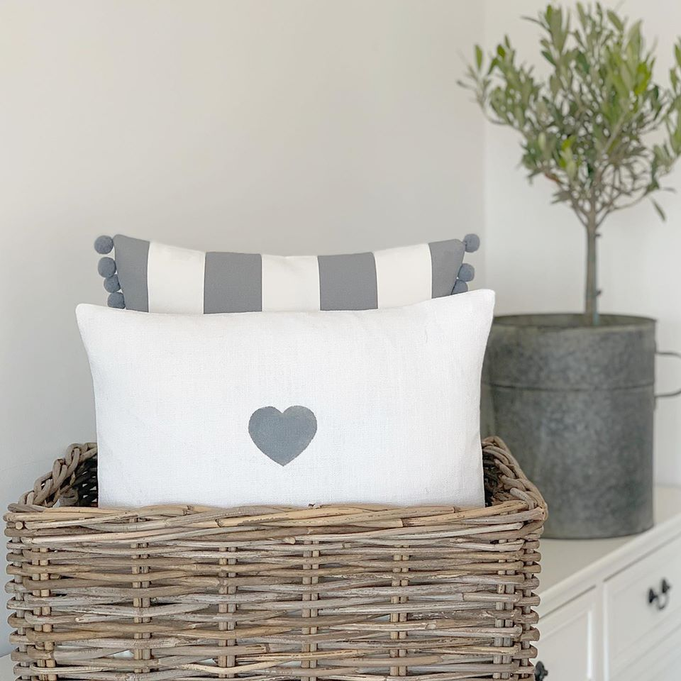 Hand Printed Heart Cushion