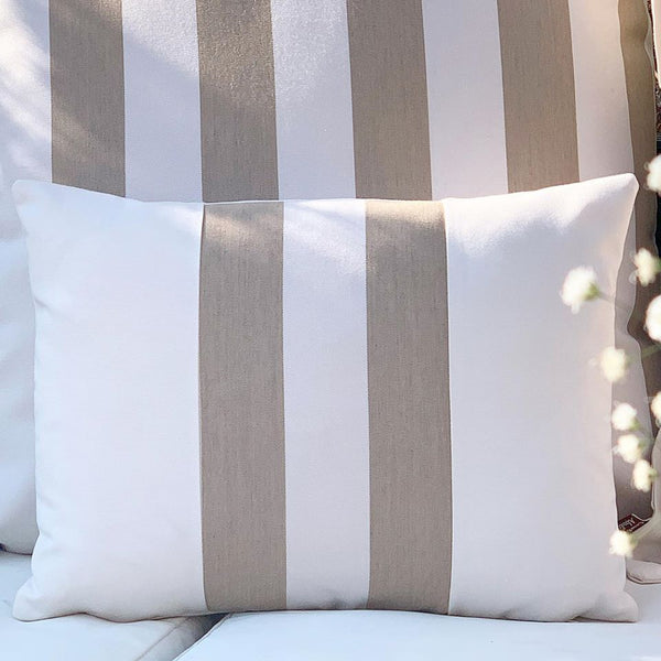 Taupe Stripe Water Resistant Band Cushion