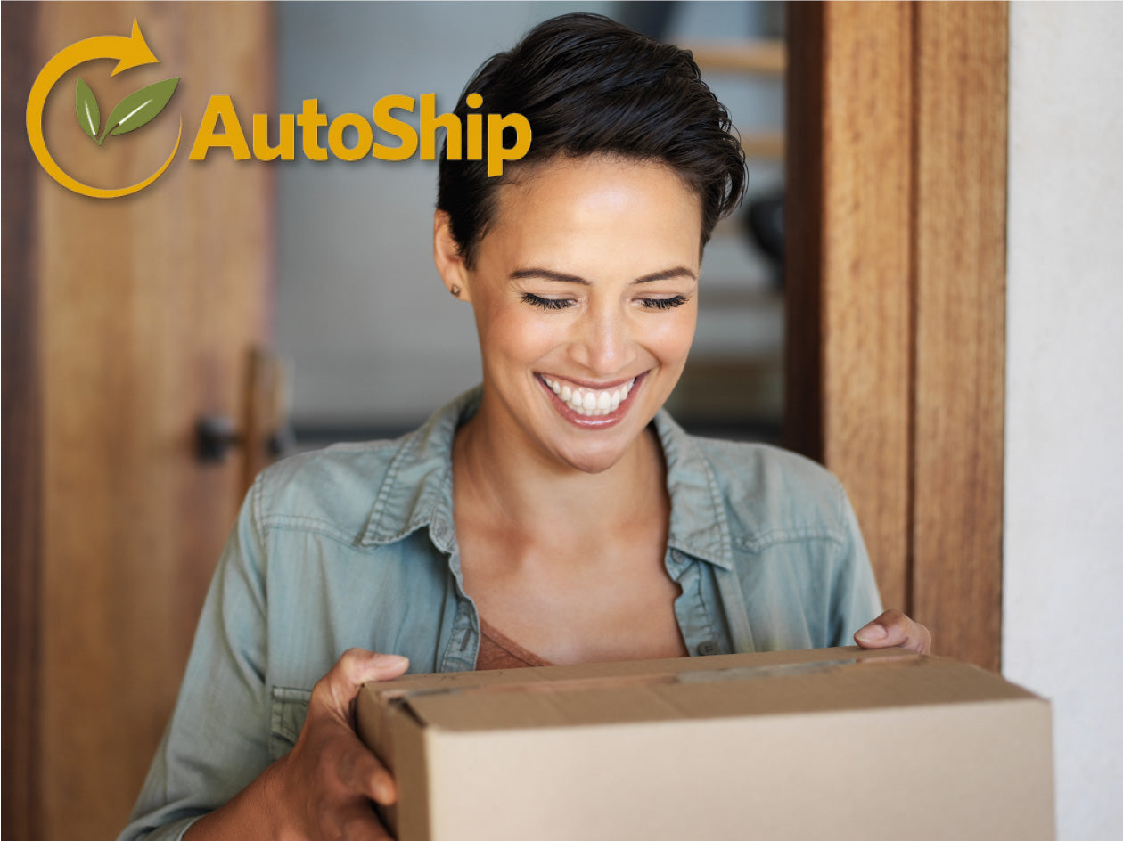 amazing solutions autoship service woman smiling receiving package