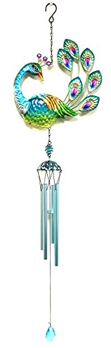 Peacock w/ Glass Wind Chime tubes & Home Decor