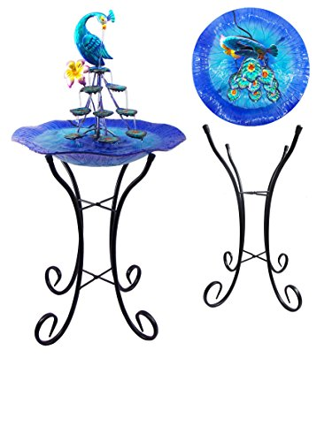 Blue Metal Art Peacock Water Fountain Tabletop Garden Decor 34""