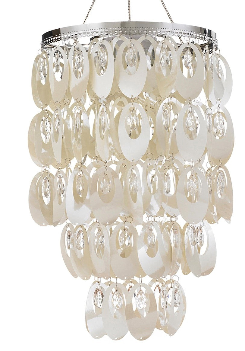 Shimmering Chandelier | LED White Ring Pearlized