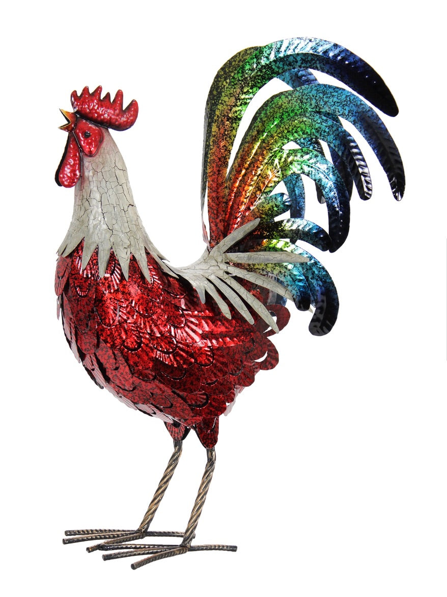Red Metal Rooster Statue