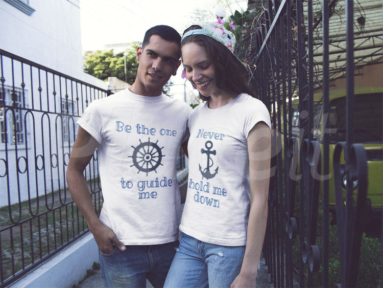 Rudder & Anchor pairing t-shirt couple. guide me and don't hold me down