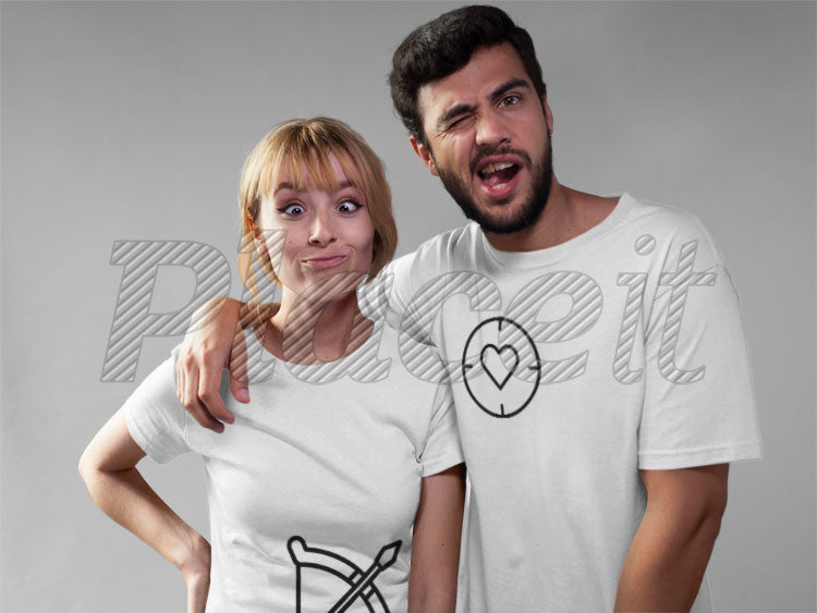 Couple with pairing t-shirt ProudFreak cuipid & heart target