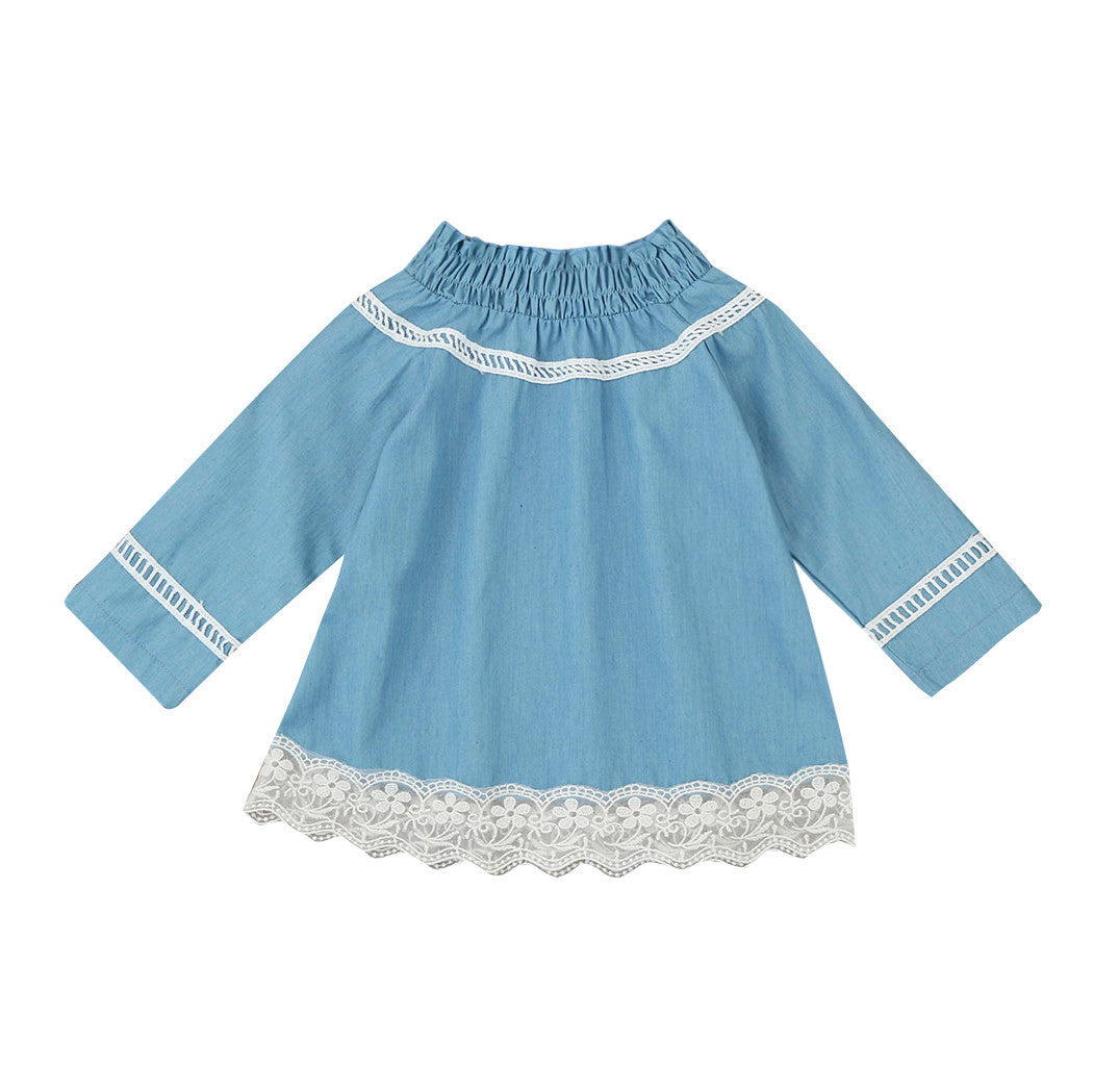 Baby Girls dress Lace Off Shoulder Denim Dress Party Princess ...