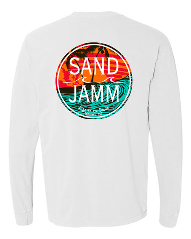 SJ Teal Waves Long Sleeve Shirt - White