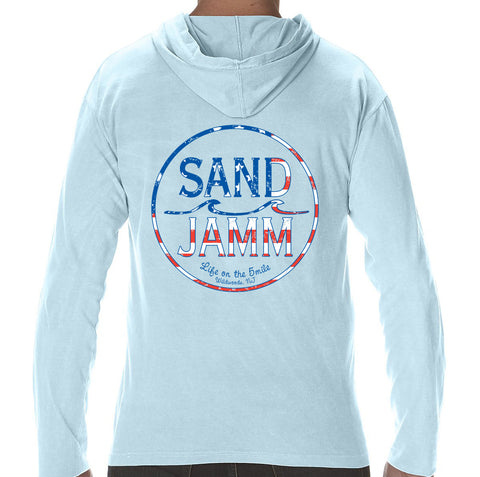 SJ USA Flag Long Sleeve Hooded Shirt - Light Blue