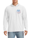 SJ USA Flag Long Sleeve Hood - White