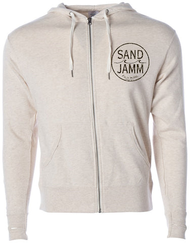 SJ Classic Heather Hooded Zip - Oatmeal