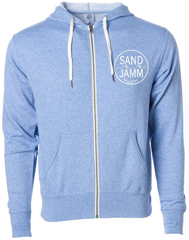 SJ Classic Heather Hooded Zip - Sky Blue