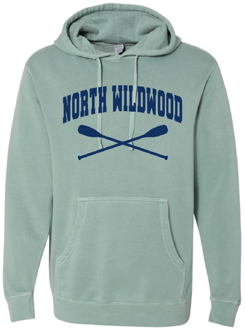 North Wildwood Oars Pigment Dyed Hooded Pullover - Mint