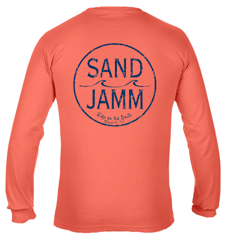 SJ Classic Navy Logo Long Sleeve Shirt - Bright Salmon