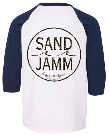 SJ Classic Youth 3/4 Sleeve Shirt - White/Navy