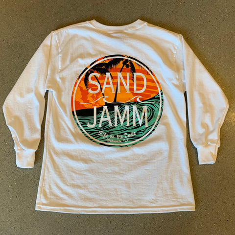SJ Teal Waves Youth Long Sleeve Shirt - White