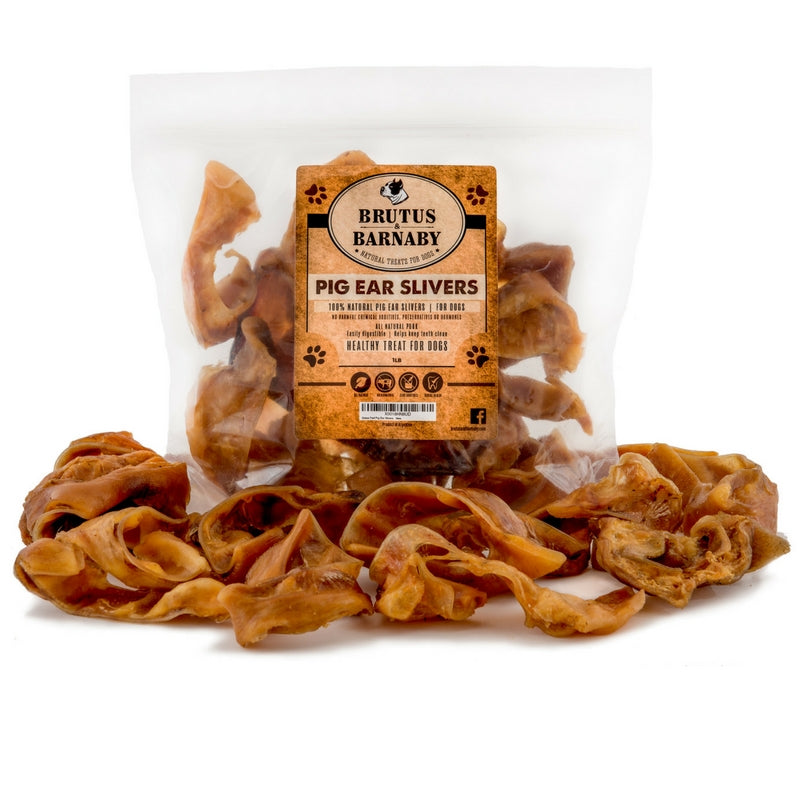 Pig Ear Dog Treats - All Natural Pig Ear Slivers for Smaller Dogs