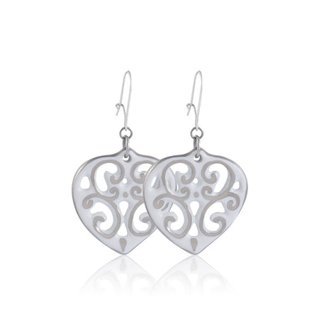 Aero Heart Earrings Silver