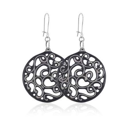 Aero Circle Earrings Grey and Gunmetal