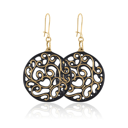 Aero Circle Earrings Gold and Gunmetal