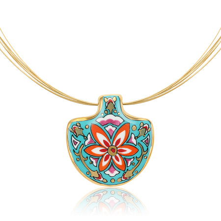 Small Teal Medals Secession Necklace