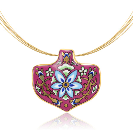 Large Pink Medals Secession Necklace
