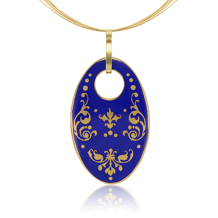 Blue Oval Baroque Necklace
