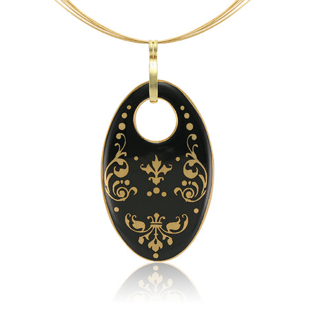 Black Oval Baroque Necklace