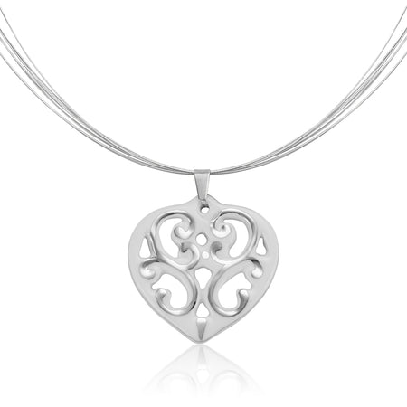 Aero Heart Necklace Silver