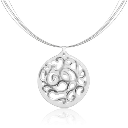 Small Aero Circle Necklace Silver