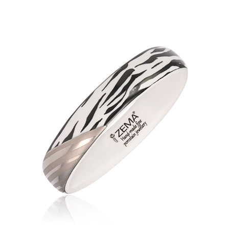 Narrow Silver Zebra Bangle Bracelet